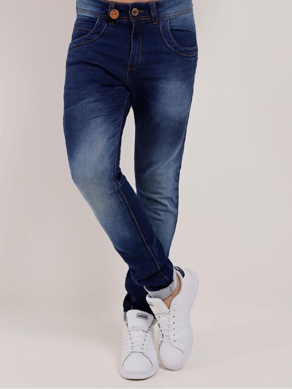 Calça Jeans Moletom Masculina Zune Azul