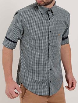 Camisa-Xadrez-Manga-¾-Masculina-Verde