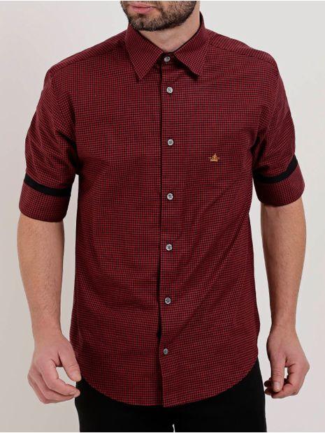 Camisa-Xadrez-Manga-¾-Masculina-Vermelho
