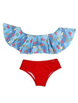 Biquini Infantil Para Menina - Azul/vermelho