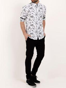 Camisa-Manga-3-4-Masculina-Branco-preto-P