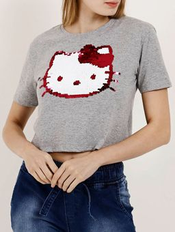 Camiseta-Manga-Curta-Feminina-Hello-Kitty-Cinza-P