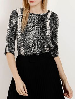 Blusa-Animal-Print-Manga-¾-Feminina-Autentique-Preto-cobra