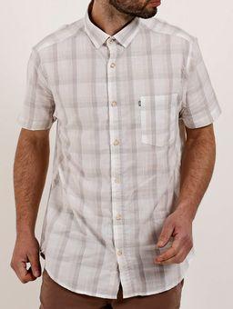 Camisa-Xadrez-Manga-Curta-Masculina-Branco-cinza-P