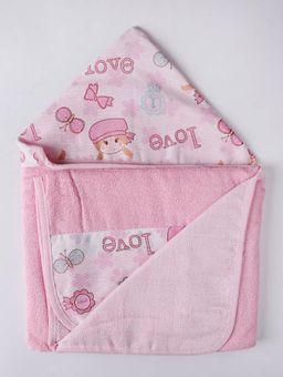 Toalha-Infantil-com-Capuz-Rosa