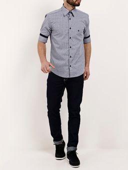 Camisa-Manga-3-4-Masculina-Cinza-azul-P