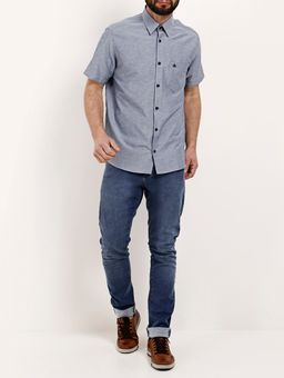 Camisa-Manga-Curta-Masculina-Cinza-P
