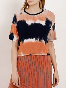 Blusa-Tie-Dye-Manga-Curta-Feminina-Autentique-Azul-Marinho-laranja-P