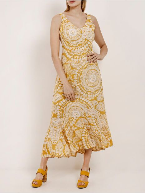Vestido-Longo-Feminino-Pacific-Blue-Amarelo-P
