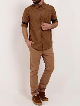Camisa-Xadrez-Manga-3-4-Masculina-Caramelo-P