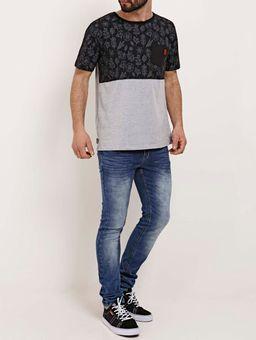 Camiseta-Manga-Curta-Masculina-No-Stress-Preto-cinza-P