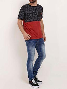 Camiseta-Manga-Curta-Masculina-No-Stress-Preto-vermelho-P
