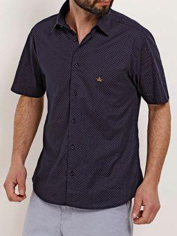 Camisa-Slim-Fit-Manga-Curta-Masculina-Azul-Marinho