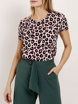 Blusa-Manga-Curta-Animal-Print-Feminina-Autentique-Rosa