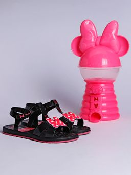 Sandalia-Minnie-Mensagens-Divertidas-Infantil-para-Menina---Preto-rosa