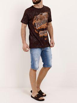 Camiseta-Manga-Curta-Masculina-Dixie-Marrom-P