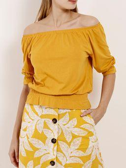 Blusa-Ciganinha-Manga-¾-Feminina-Amarelo