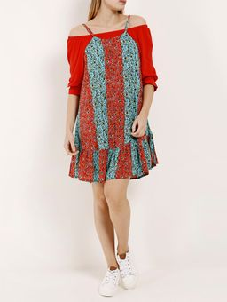 Vestido-Curto-Feminino-Autentique-Azul-vermelho-P