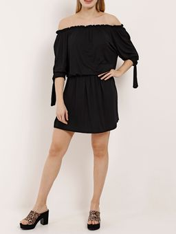 Vestido-Ciganinha-Manga-¾-Feminino-Preto