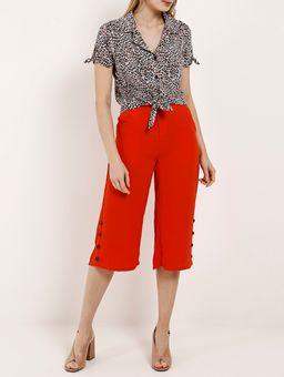 Camisa-Animal-Print-Manga-Curta-Feminina-Autentique-Preto-vermelho