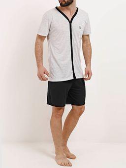 Pijama-Curto-Masculino-Cinza-preto-P