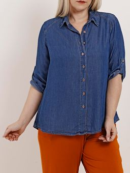 Camisa-Jeans-Tencel-Manga-3-4-Plus-Size-Feminina-Azul