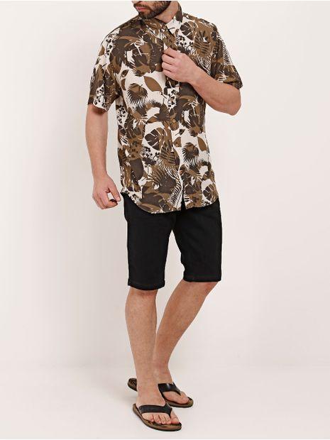 Camisa-Manga-Curta-Masculina-Dixie-Bege-marrom-P