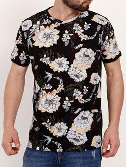 Camiseta-Floral-Manga-Curta-Masculina-Dixie-Preto-P
