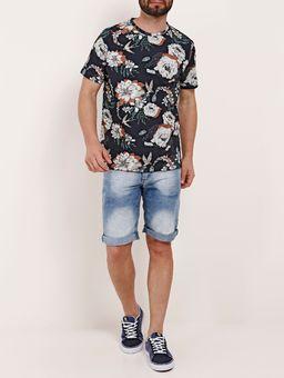 Camiseta-Floral-Manga-Curta-Masculina-Dixie-Azul-Marinho-P