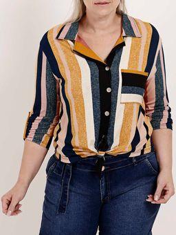 Camisa-Manga-¾-Plus-Size-Feminina-Autentique-Azul-Marinho-amarelo