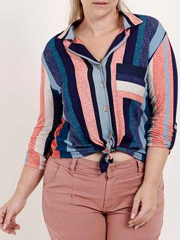 Camisa-Manga-¾-Plus-Size-Feminina-Autentique-Azul-Marinho-salmao