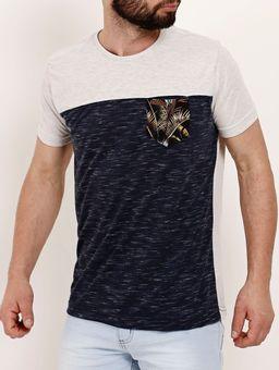 Camiseta-Manga-Curta-Masculina-Gangster-Bege-marinho-P