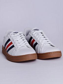Tenis-Casual-Masculino-Adidas-Grand-Court-Branco-azul-vermelho-38