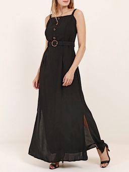 Vestido-Longo-com-Cinto-Feminino-Preto
