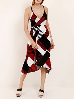 Vestido-Midi-Estampado-Feminino-Vermelho-preto