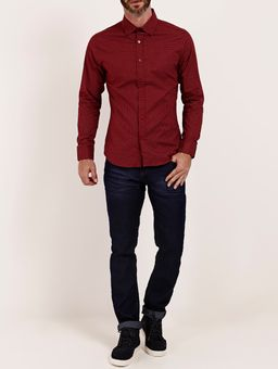 Camisa-Slim-Manga-Longa-Masculina-Vinho