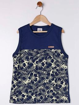 Camiseta-Regata-Estampa-Tropical-Juvenil-para-Menino---Azul