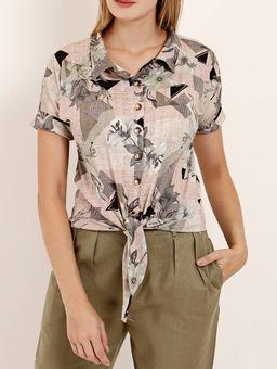 Camisa-Manga-Curta-Feminina-Cinza-verde-P