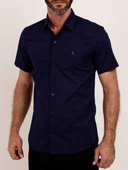 Camisa-Slim-Manga-Curta-Masculina-Azul-Marinho-P