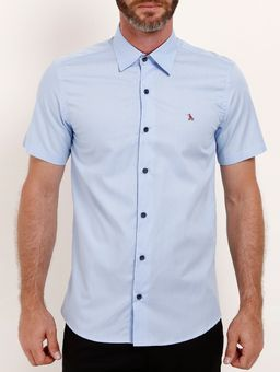 Camisa-Slim-Manga-Curta-Masculina-Azul-P