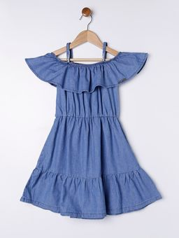 Vestido-Jeans-Infantil-para-Menina---Azul