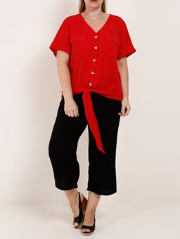 Camisa-Manga-Curta-com-No-Plus-Size-Feminina-Vermelho