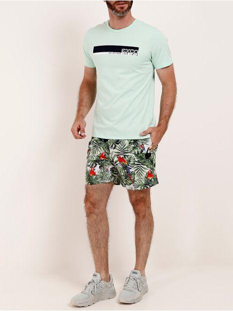 Camiseta-Gola-Careca-Manga-Curta-Masculina-Verde