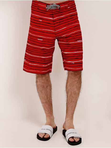 Bermuda-Listrada-Masculina-Vermelho
