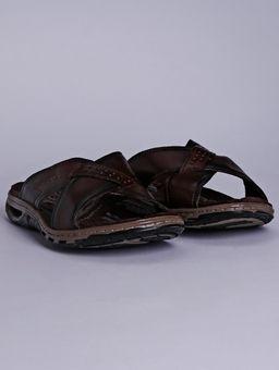 Chinelo-em-Couro-Pegada-Masculino-Marrom-Escuro