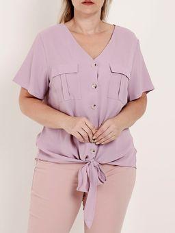 Camisa-Manga-Curta-com-No-Plus-Size-Feminina-Lilas