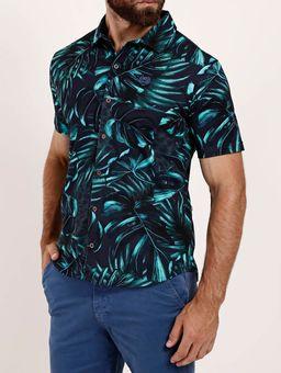 Camisa-Estampada-Manga-Curta-Masculina-Azul-Marinho-P