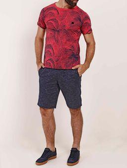 Camiseta-Folhagem-Manga-Curta-Masculina-Vermelho
