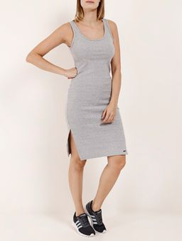 Vestido-Midi-Canelado-Feminino-Cinza