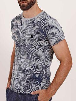 Camiseta-Folhagem-Manga-Curta-Masculina-Cinza